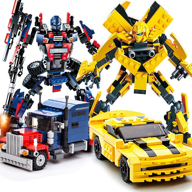 Transformers Optimus Prime Bumblebee carácter modélico Building Blocks Juguetes Niños Transformación del robot Regalo educativo del juguete de coches