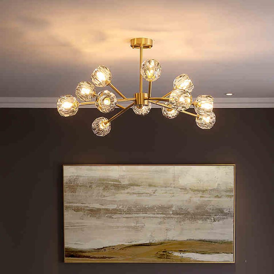 Modern Vintage Copper Lustre en cristal de luxe Grand Chandeliers Lustre Cuisine moléculaire Chambre Lustre plafond AC 100-240V
