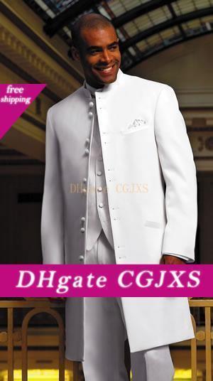 Высокое качество Groom Tuxedos Long White Стенд Воротник Groomsmen Шафер костюм мужские свадебные костюмы (куртка брюки жилет галстук) J220