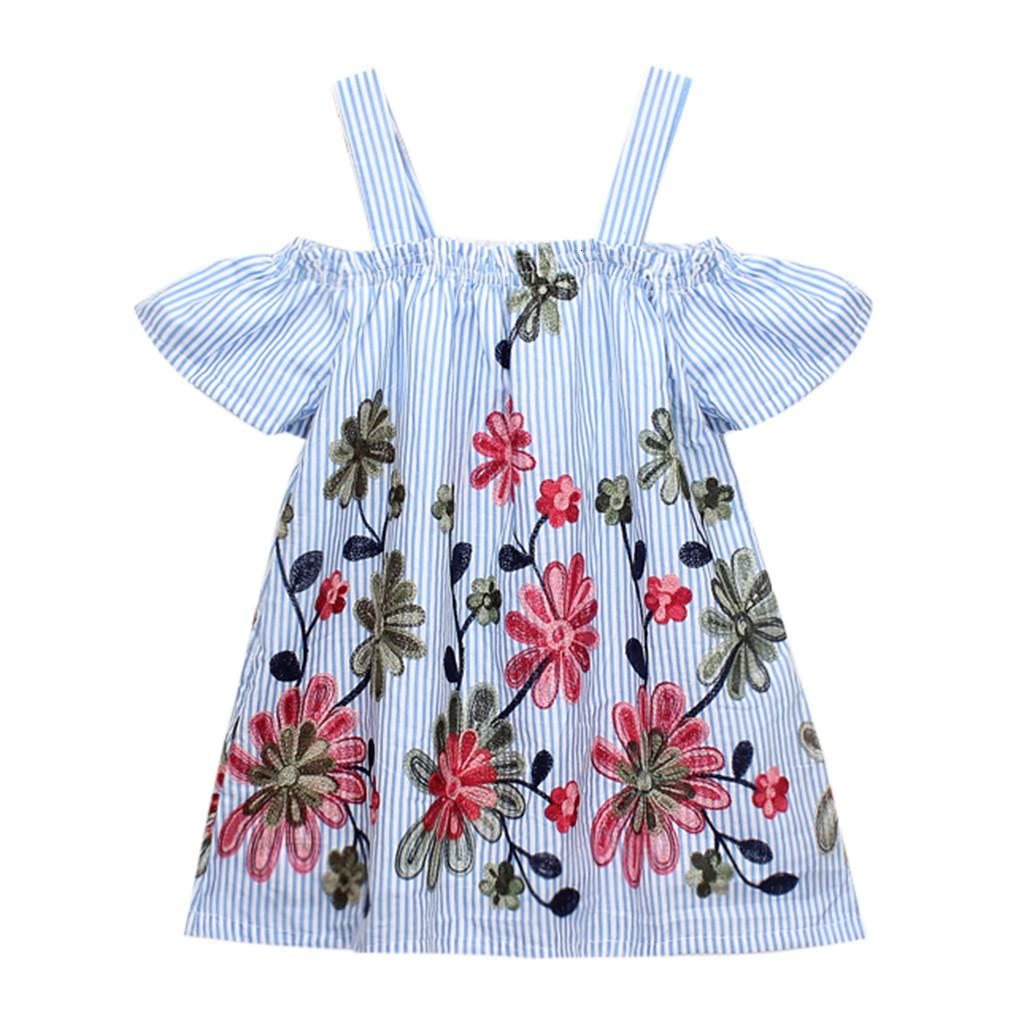 Clearance Excelent New summer Dress Mesh Girls Toddler Kids Baby Girls Clothes Floral Embroidery Stripe Party Princess Dresses Z0205