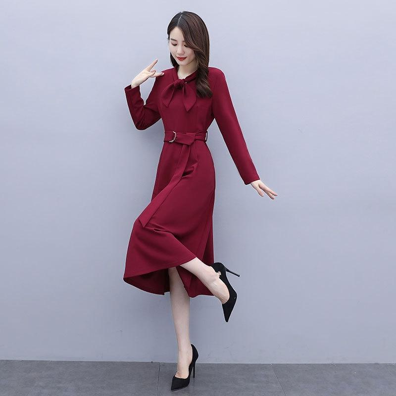 cqwC6 JesNA с осени новых женщин ЛИНИЯ корейском стиле длинные талии носить A- более-колена юбка длинная юбка A- линия платье средней длины платье 2020 б