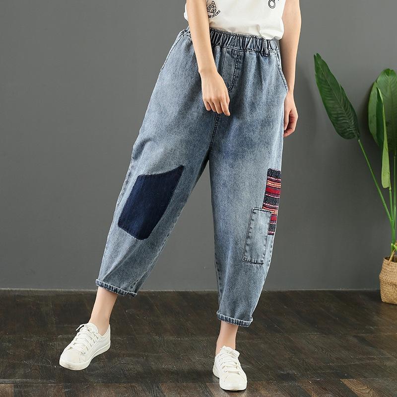 Xx67C женщины размера Больших случайных джинсы и джинсы 2020 лето новой Корейский стиля ткань девять очков случайных штанов жира сестра шаровары