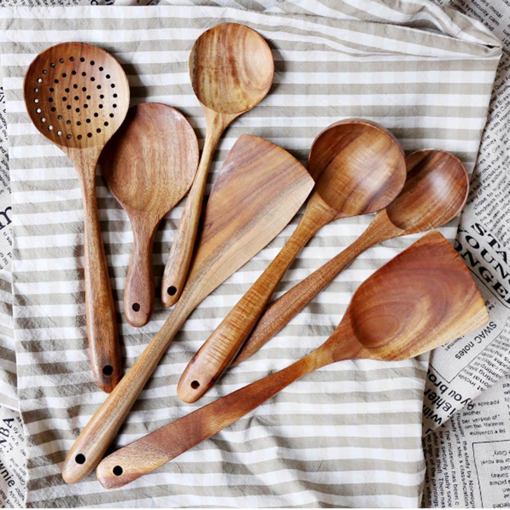 Teak Tableware ложка дуршлага с длинными ручками ложка деревянная нелепость Специальный шпатель кухонный набор инструментов 7 шт. / Установить тиковый посуда DHL DHL