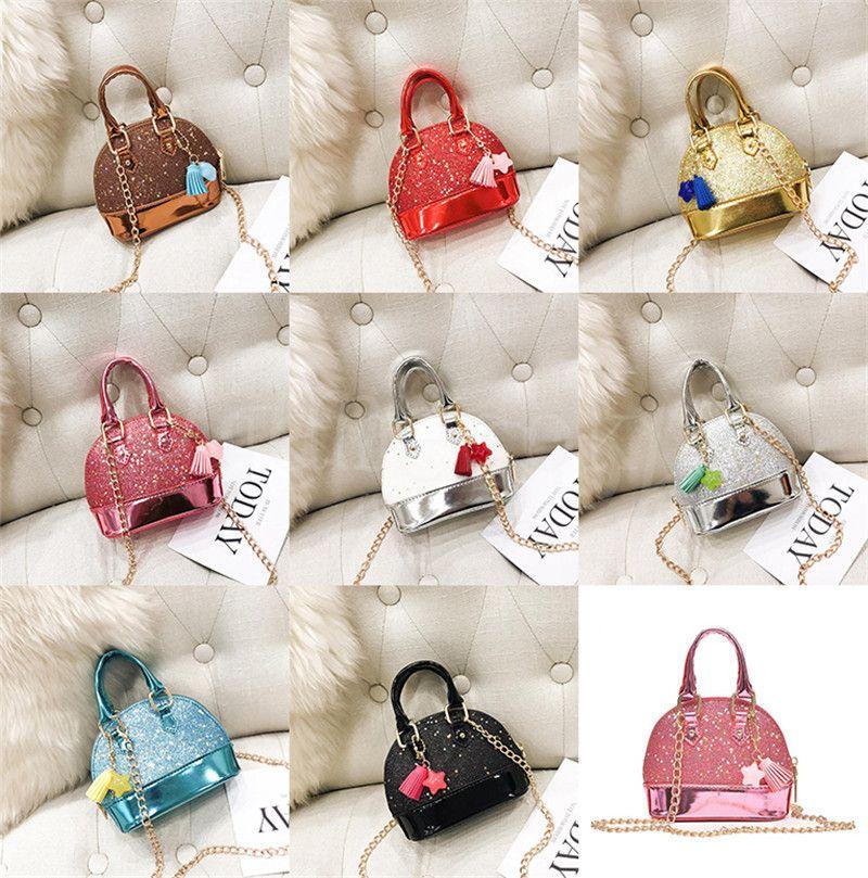 Детские мини-сумки для девочек, сверкающие блеск для девочек для малышей Детские раковины пакеты с цепью милые сумки 8 цвет DB029