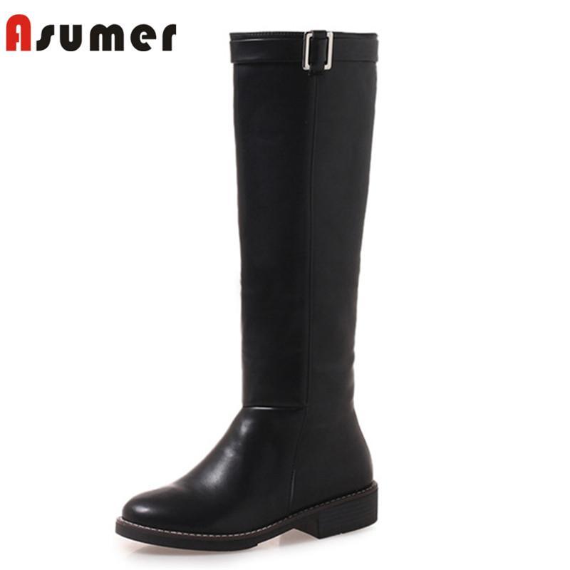 ASUMER 2020 botas nova chegada joelho altas mulheres rodada toe outono inverno fivela botas de montaria saltos baixos sapatos casuais femininas