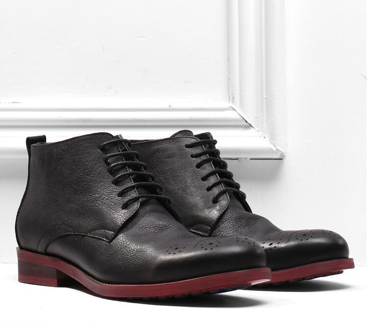 Con cordones de los hombres del vestido de Oxford masculino ocasional elegante del cuero genuino tallado en elevador zapatos de los cargadores del tobillo de los hombres de remiendo Sole