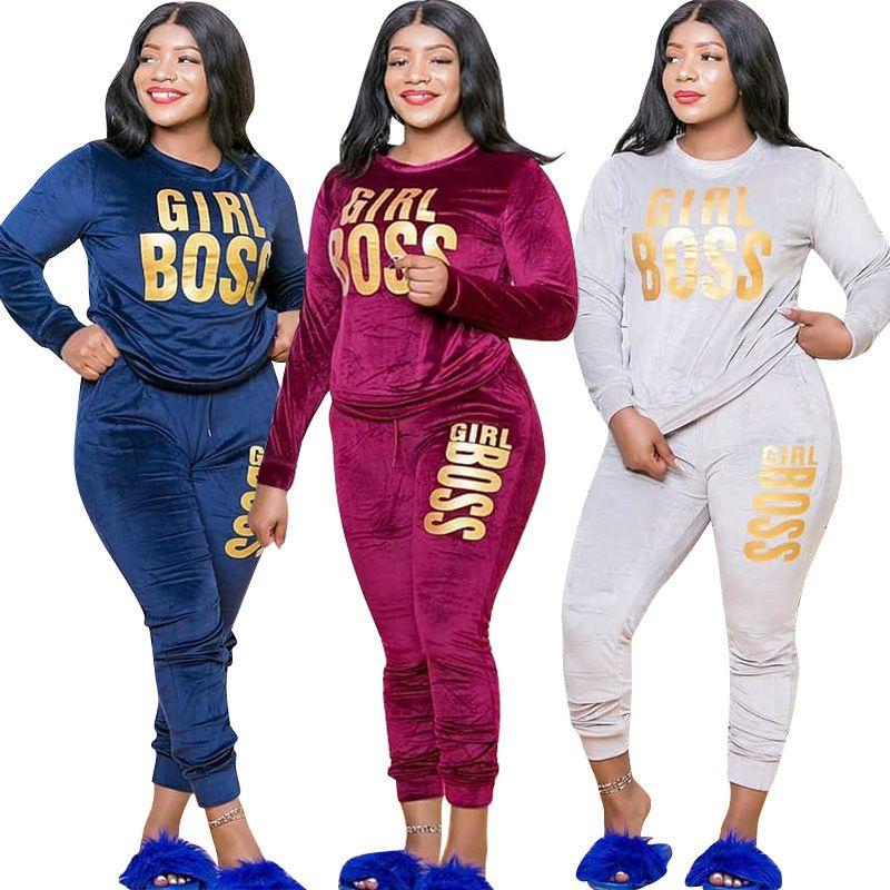 Echoine Mulheres Carta Imprimir Autumn Velvet Set camisola Top Jogger Pants Suit Treino Two Piece Set aptidão Outfit Plus Size