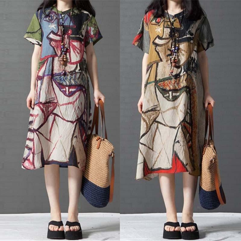 Op4ug myxq3 Summ Pamuk ve keten büyük baskılı gevşek boy pamuk keten yuvarlak boyun kısa kollu elbise Kadın Orta uzunlukta gömlek elbise 2020 Sanat
