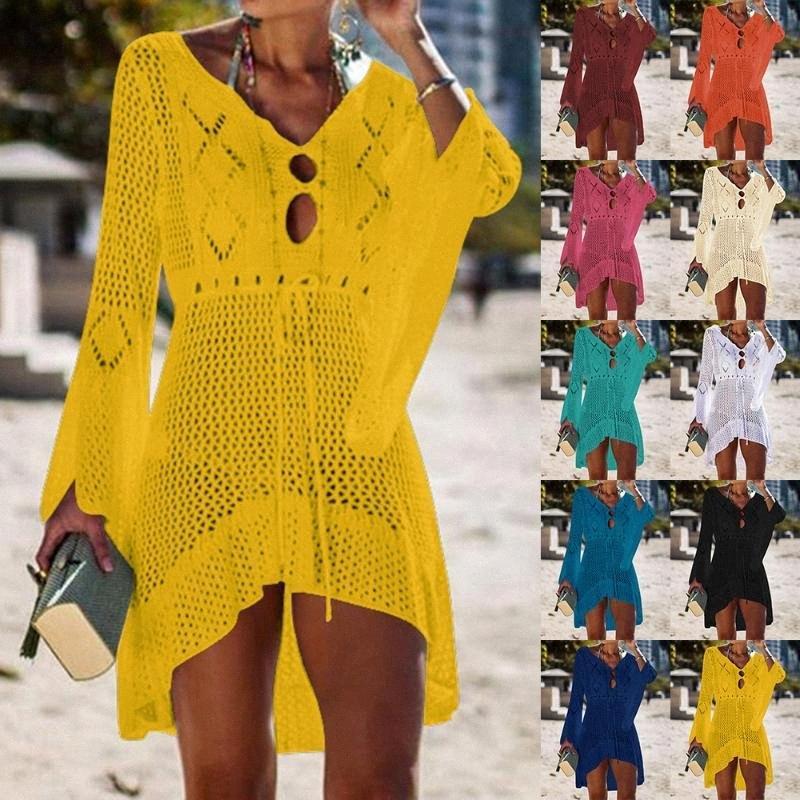 2020 2020 Sexy Crochet lavorato a maglia Beach di occultamento della nappa Tie Beachwear lunga tunica Parei estate costume da bagno See Through Beach Bikini Dress AVVI #