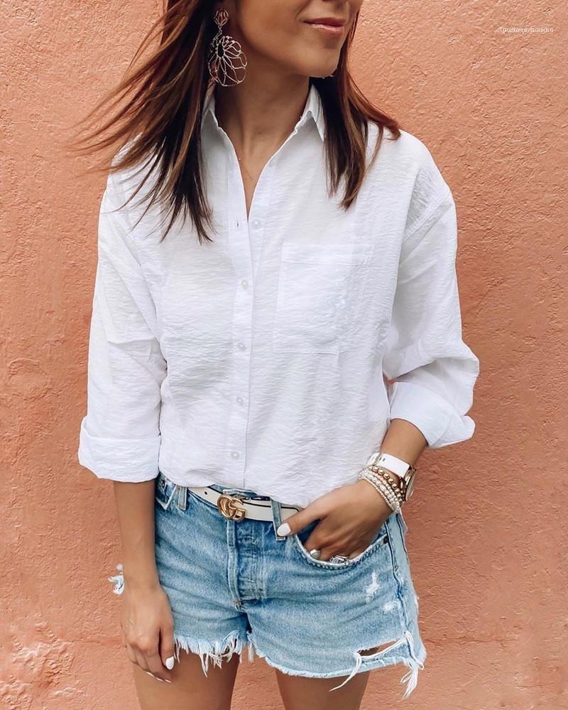 Beiläufige lange Hülsen-Frauen Designer Shirts Revers Hals mit Taschen Leichte Pure Color Female Shirts Leinen Weiß Damen Blusen OL Art