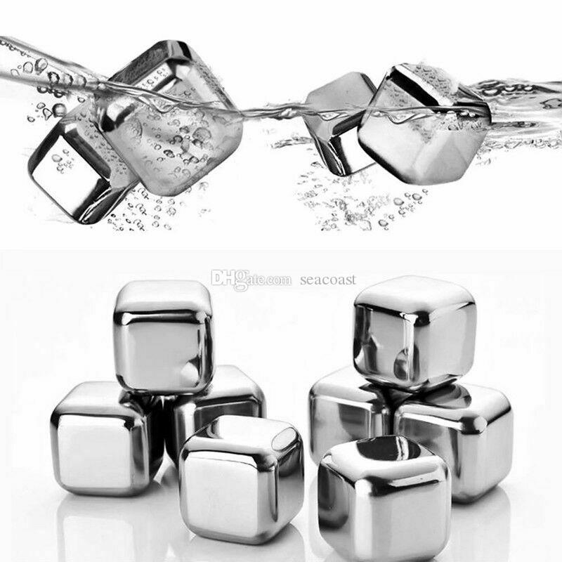 100st 304 Rostfritt stål Ice Cube Whisky Chilling Stones Rebrusble Cooler Stone Drink Chiller Wine Bear Water Ice Cubes Ball