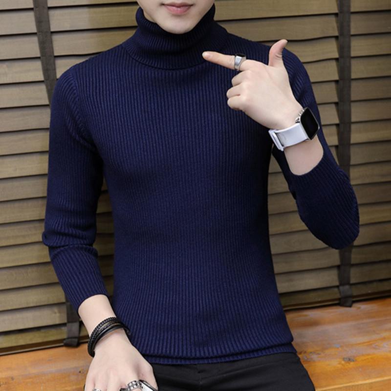 2020 Cashmere Pullover Hombres 2020 nuevo de la manera del cuello alto suéter fino para hombre otoño suéteres casuales de punto Jerseys Tops 3XL