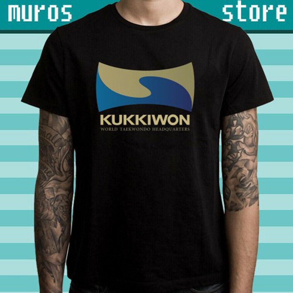 Negro de Taekwondo Kukkiwon Sede del arte marcial de los hombres de la camiseta