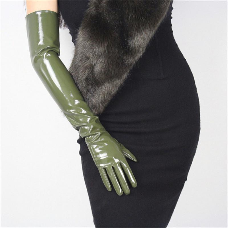 60cm Lackleder lange Handschuhe extralange Over Elbow PU Emulation Leder Hell Spiegel Dunkelgrün Armee-Grün PU49-60
