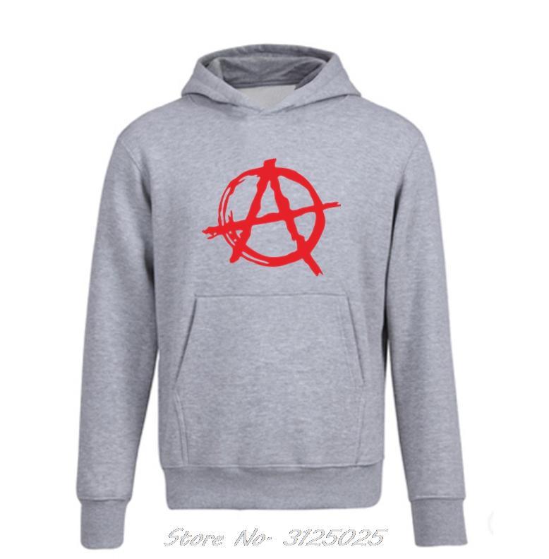 Simbolo di anarchia con cappuccio Punk Rock cappuccio Bedlam Male anarchica Guerra Rocker fredda del luppolo Uomo Primavera Autunno Fleece Zipper Felpa
