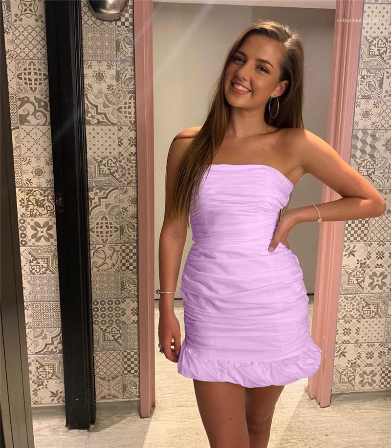 Modelleri Kadın Moda Dantelli Straplez Bayan dizayn edilmiş elbiseler Seksi Katı Renk fırfır BODYCON