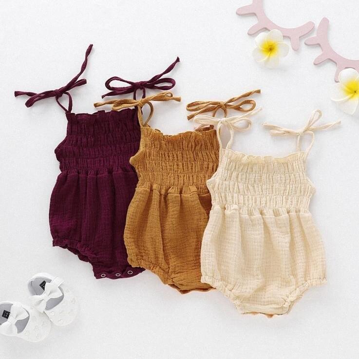 Kız Bebek Tulum Yenidoğan Kolsuz keten pamuk tulum Bebek Yaz Düz renk Romper çocuk bodysuit Clothes tırmandı CLS801 666u #