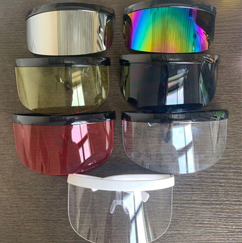 Emniyet Yarım Yüz Kalkanı Visor Güneş gözlüğü Açık Önleme Gözlük Göz Koruyucu yüz kalkanı maskeleri 10 renk LJJK2468