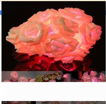 30 LED Розовые розы Цветочная фея Свадьба Рождество День Святого Валентина Декор Строка Свет украшения сада