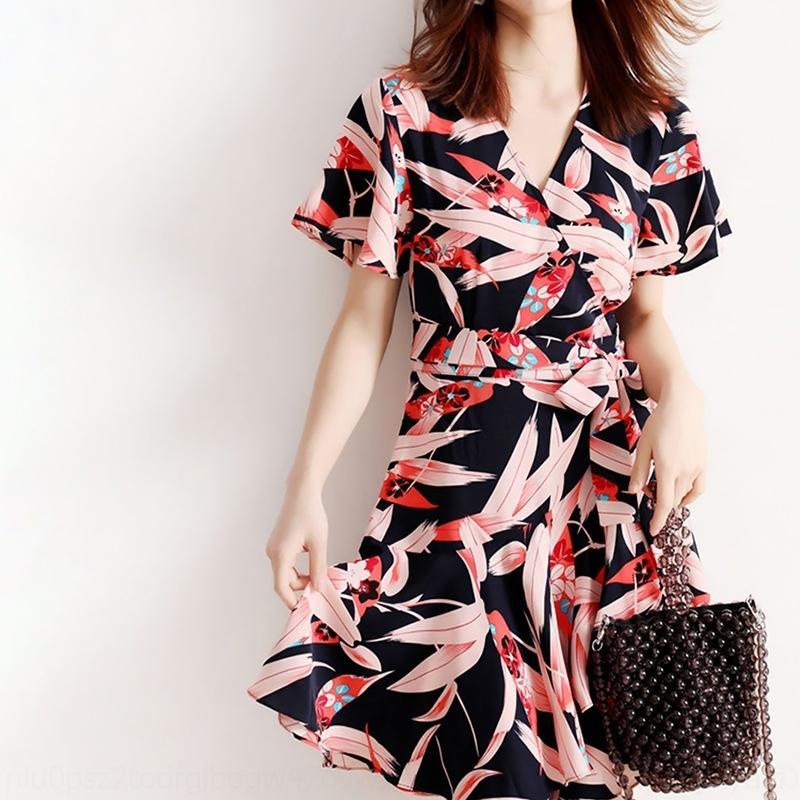 2020 цветочного новое все-матч лето абстрактного юбка свет fGLQs lfgEh Lightwomen для ветра кружево платья шнуровки платья зрелых женщин