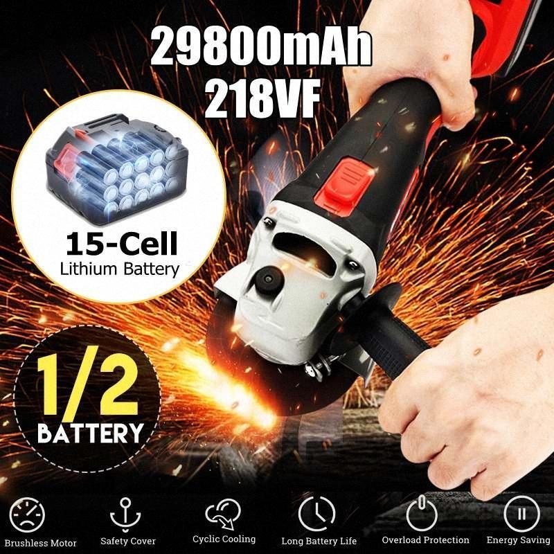 100 mm Amoladora angular sin cable 21V de iones de litio 21800mah / 29800mah batería de la máquina de corte amoladora angular de pulido eléctricas de alimentación Demasiado Yvcs #