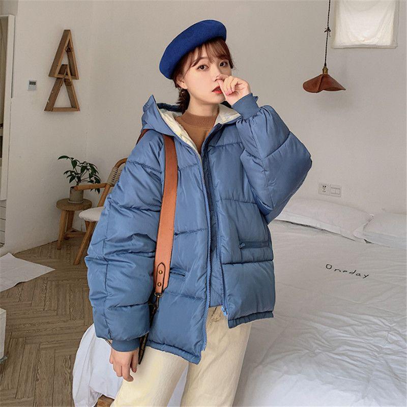 Women's Down & Parkas 2021 Winter Women Coat Loose Short Warm Hooded Cotton Padded Solid Female Jackets