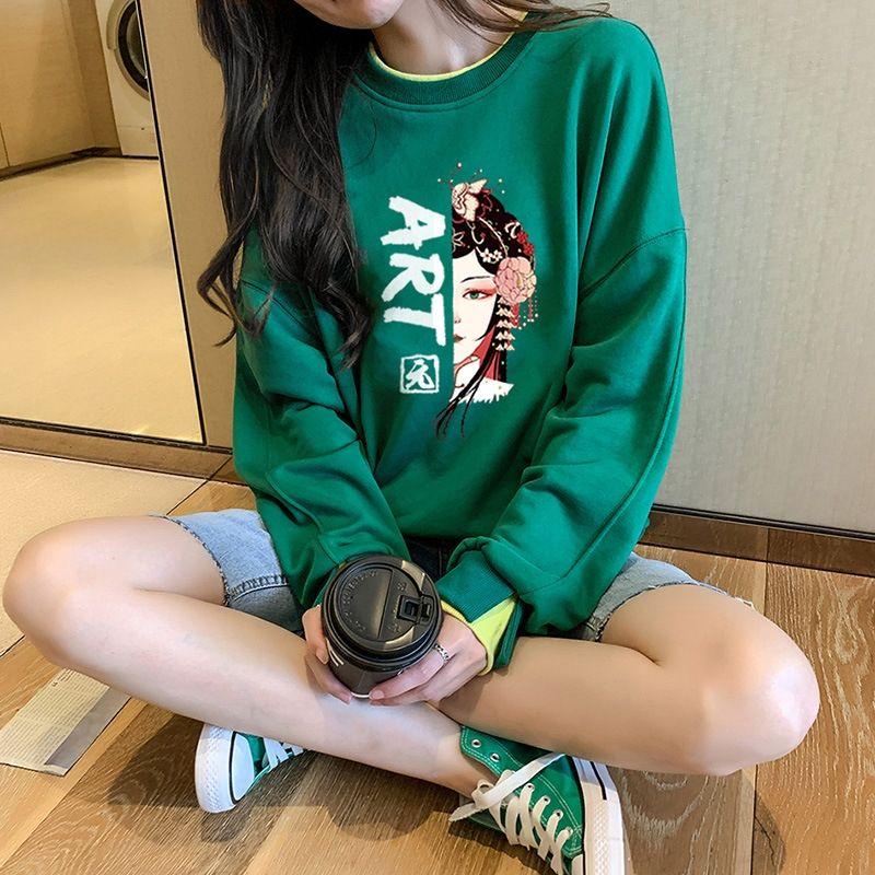 y3OJj 2020 Pullover Top Pullover Herbst-neue koreanische Art der beiläufigen losen Pullover Langarm-Pullover chinesischen Stil gedruckt gefälschte zweiteilige stude