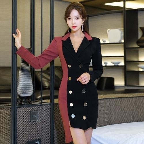fhBHc viZcD двубортный 2020 платье OL Корейский стиль Новая мода весна длинный рукав тонкий цвет подходят шить костюм платье для женщин