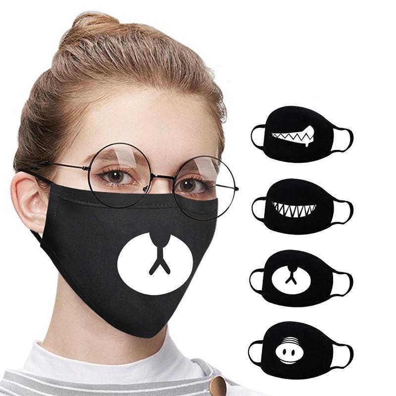 Cute Teeth Smile Bear Mask Creative Cotton Cool Travel Face Cover Men Women Kpop Mask Halloween Decorative Black Mask