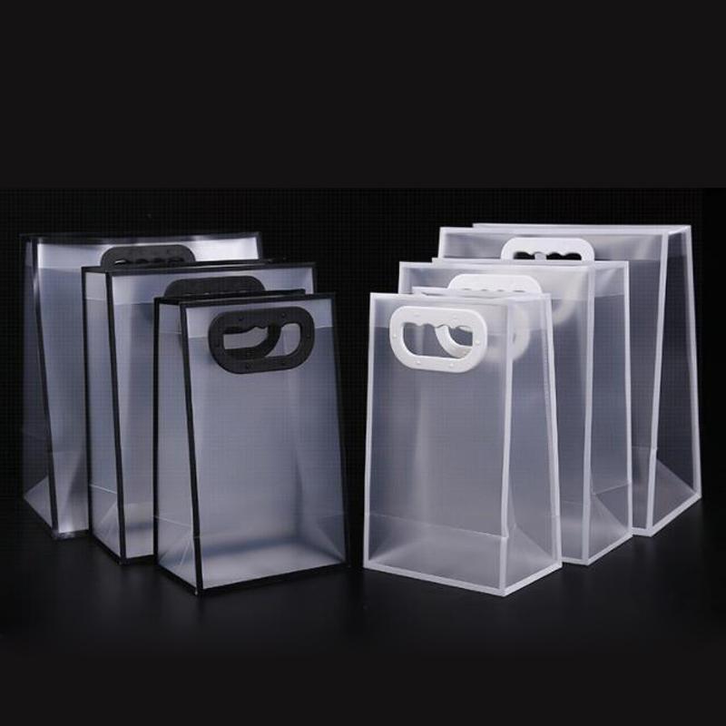 100шт Матовый Прозрачный сумок Пластиковые сумки для хранения сумки Мода Tote Одежда мешочек