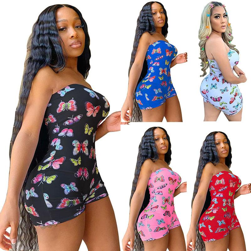 Women Jumpsuits Sexy Strapless Skinny Rompers Ladies Butterfly Print Playsuits Off Shoulder Jumpsuit Plus Size Female Rompers 050818