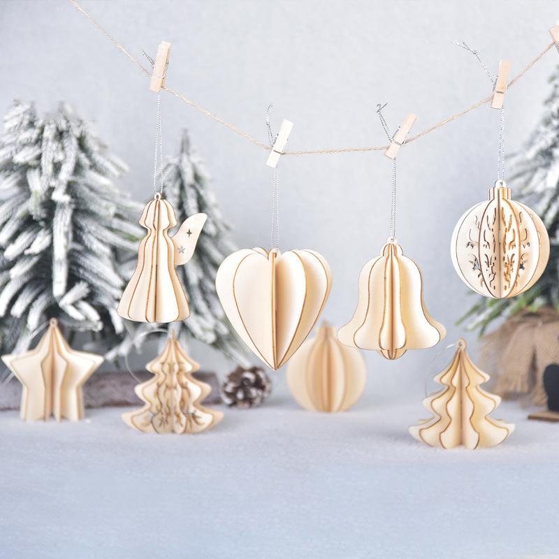 Weihnachtsschmuck aus Holz tridimensional DIY Montage Anhänger aus Holz fünfzackigen Stern kreative Weihnachtskugel T3I51198