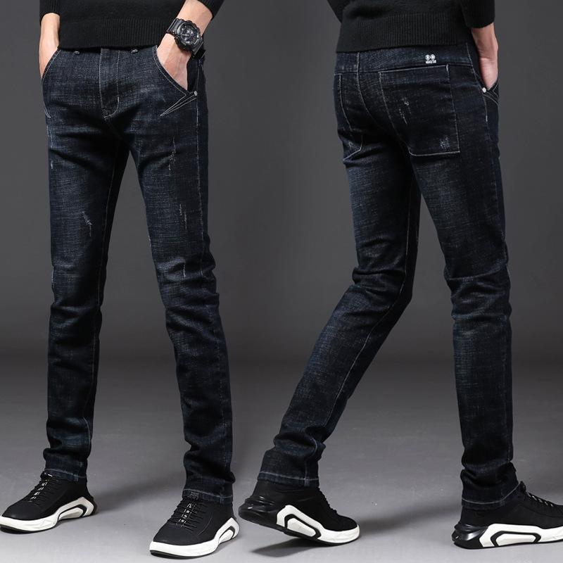 uXX4p лето тонких мужчины корейского стиль брюки стрейч модных маленькие ноги случайной мужских Приталенные и джинсы брюк и джинсы