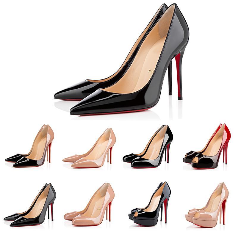 Con caja Nuevas Mujeres Zapatos Tacones Altos Bottoms Rojos Puntas puntiagudas Bombas Bombas Botras al aire libre Zapatos de vestir Tamaño 36-43