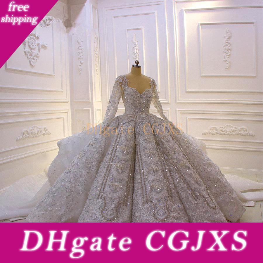Vintage Sequined Spitze Appliqued Ballkleid Brautkleider Luxus Scoop Neck Long Sleeves Saudi Dubai Arabisch Plus Size Brautkleider Cph048
