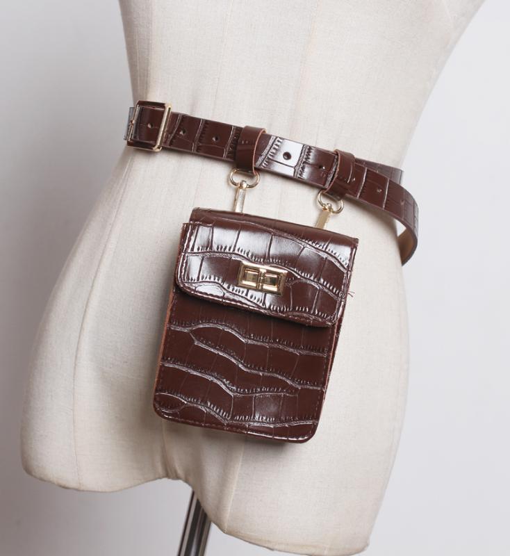 Frauen Gürteltasche Mode-Leder-Taillen-Gurt-Beutel Crossbody Brusttaschen Mädchen Fanny-Satz Klein Telefon-Pack Schultergurt Pack
