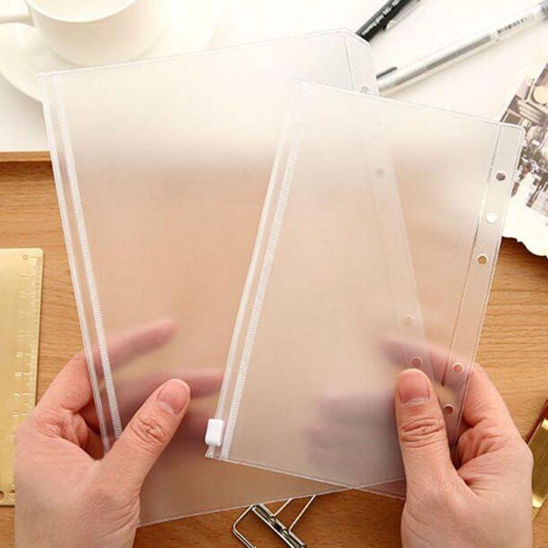 A5 / A6 / A7 Şeffaf Binder Kapağı PVC Fermuar Saklama Çantası 6 Delik Su Geçirmez Kırtasiye Kart Faturaları Çanta Ofis Seyahat Taşınabilir Belge Çuval