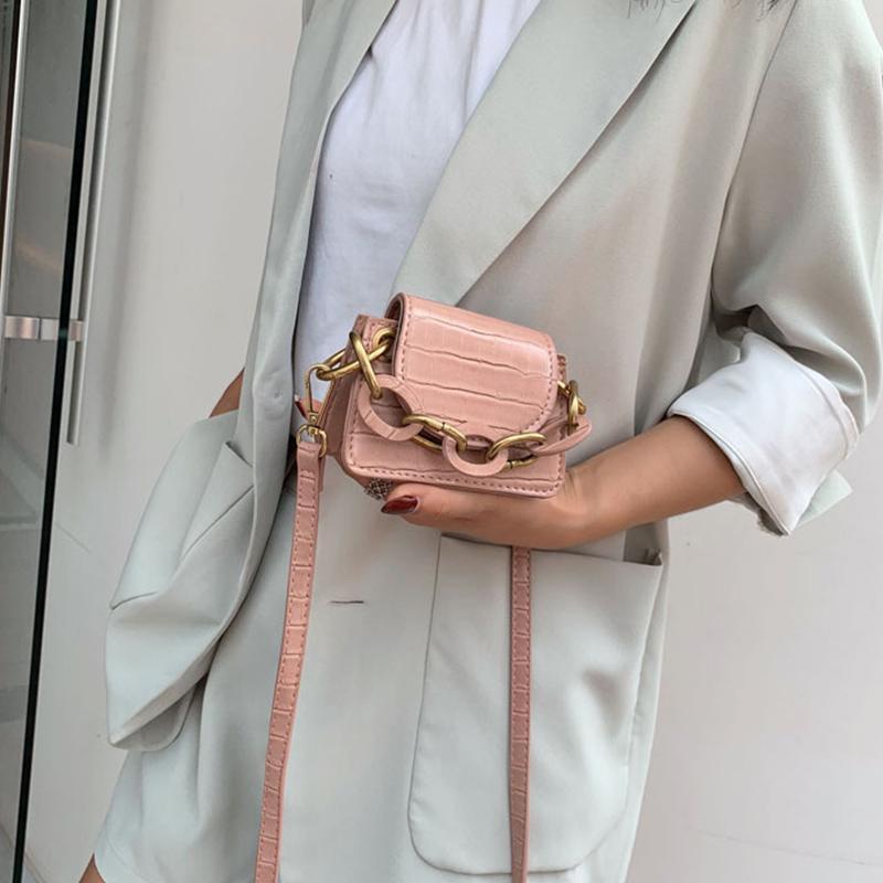 Motif en pierre PU Sacs Crossbody cuir pour les femmes épais chaîne de conception d'épaule Messenger Bag Lady Mini 2020 Sacs à main fourre-tout Sacs à main