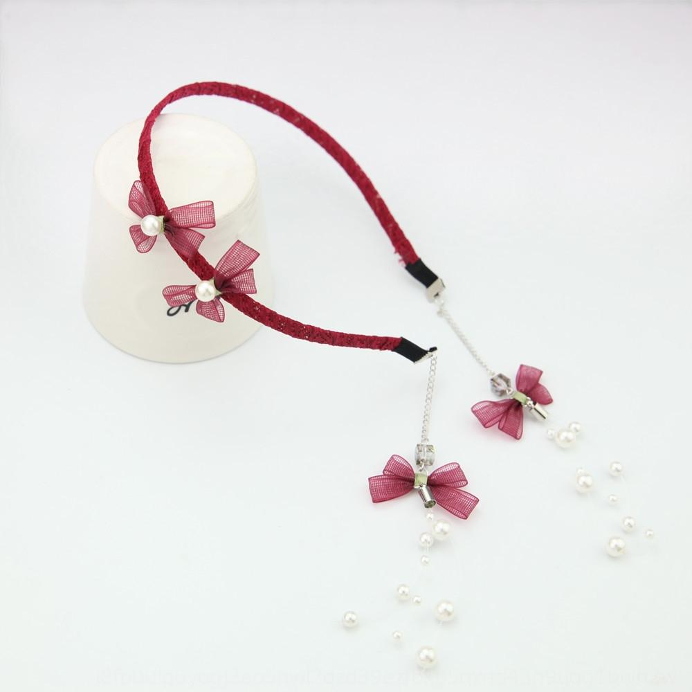 3Svau B135-1 Perle Cascade Accessoires cheveux arc de papillon boucles d'oreilles de faux cheveux pompon bande de style coréen bandeau dame douce h 6kYHI