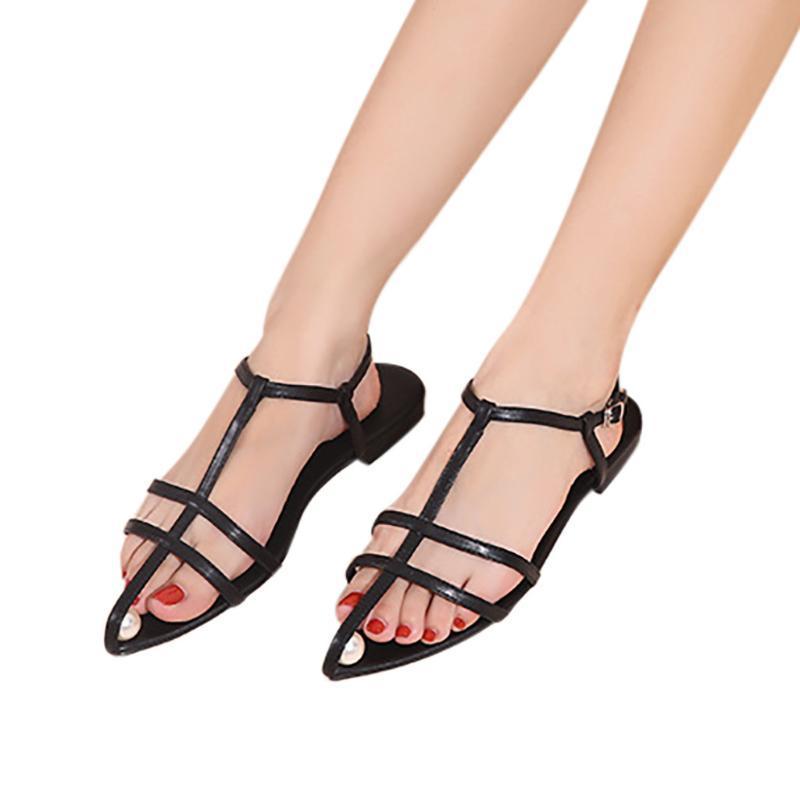 Sagace Sapatos de Verão Sandals Mulheres Aberto Toe Sapatas da praia da bracelete de couro Casual Plano Sandálias Ladies Verão