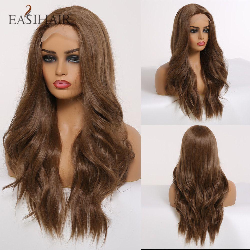 qualityBrown avant de dentelle perruque synthétique long wavy perruques pour les femmes du corps de dentelle de vague perruque naturelle haute densité résistant à la chaleur perruque DIY