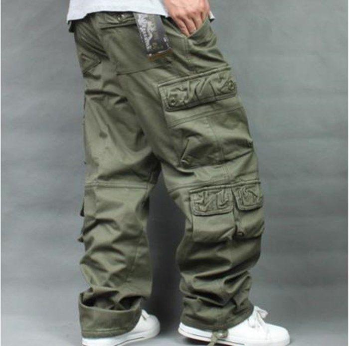 Caldo pile Fodera Cargo Pants Uomo Casual cotone sciolto rigonfio pantaloni diritti Pocket Hip Hop Streetwear jogging pantaloni Plus Size 40