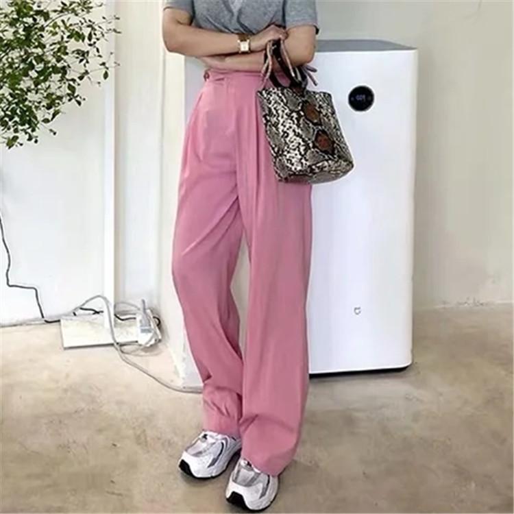 Todo-fósforo sueltan los pantalones de pierna ancha 2020 otoño nueva de cintura alta de dos botones de color rosa pantalones rectos de remanentes