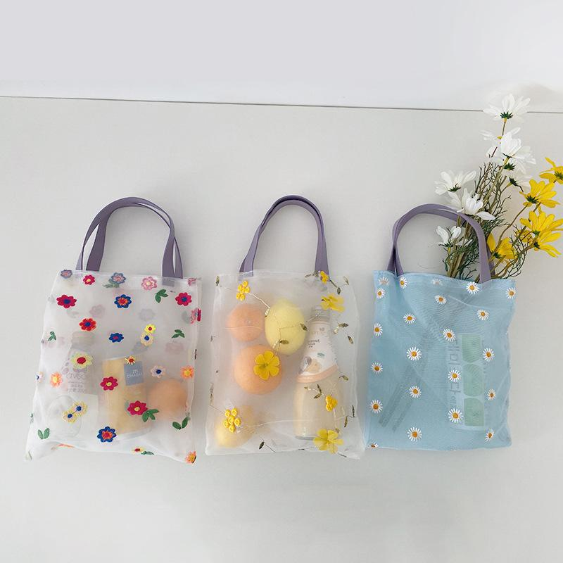 Peppy Organza Women's Handbag Flower Embroidery Translucent Ladies Shoulder Shopping Bag Girl Portable Shopping Tote Pouch