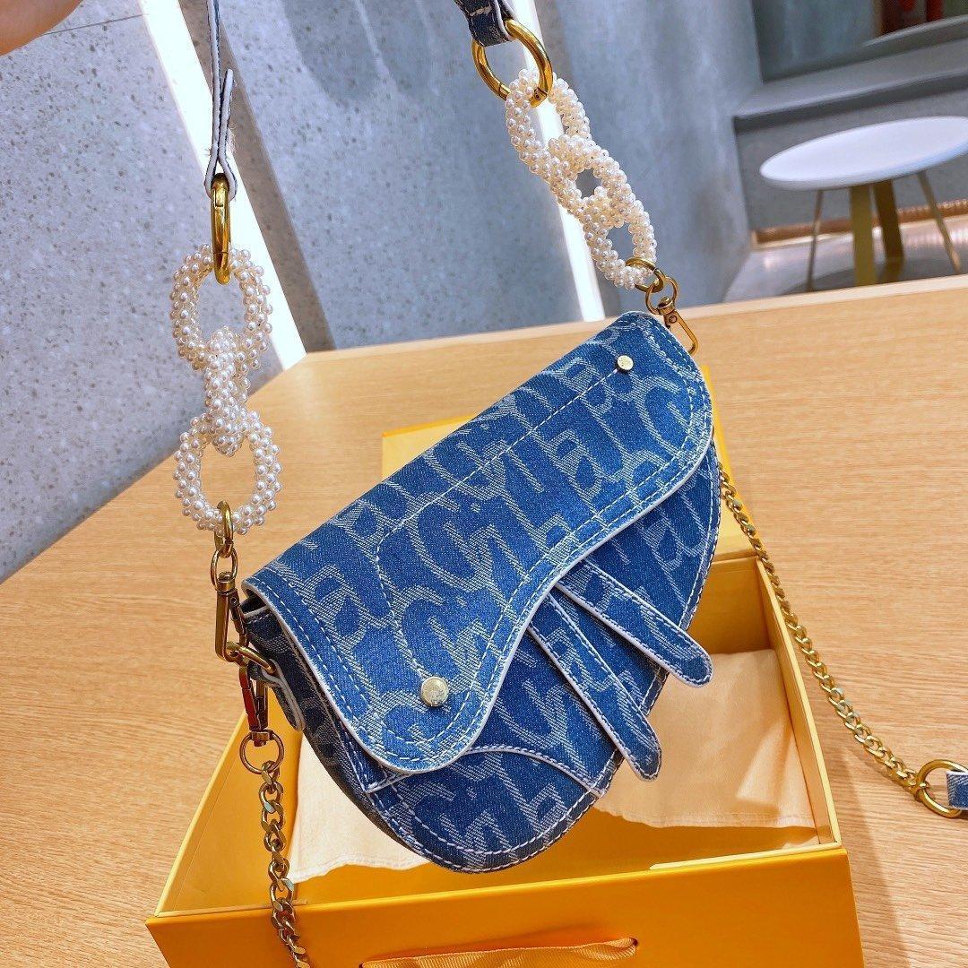 Moda feminina Retro Handbag clássico Saddle Shoulder Bag Saddle Bag Moda Canvas Handbag Estilo Crossbody Bag Alça de Ombro Handbag