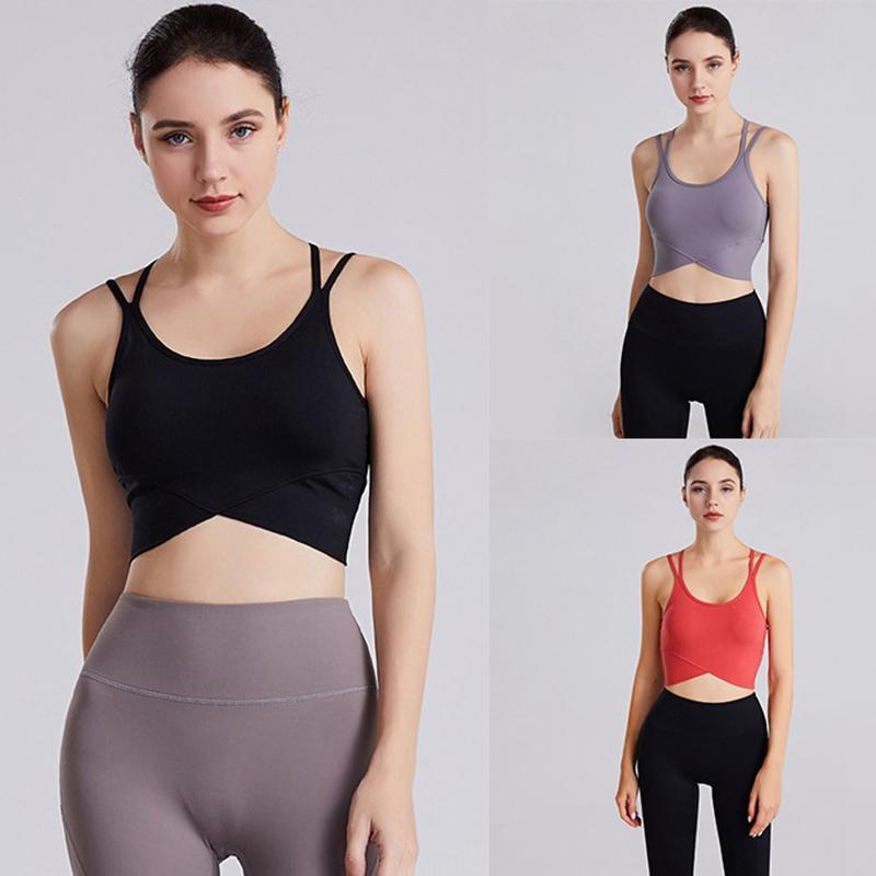 Hot-Beleza Voltar Cruz Vest Sports tanque das mulheres da aptidão Vest Yoga Correndo Inner Chest Pad Yoga roupas Top Curto