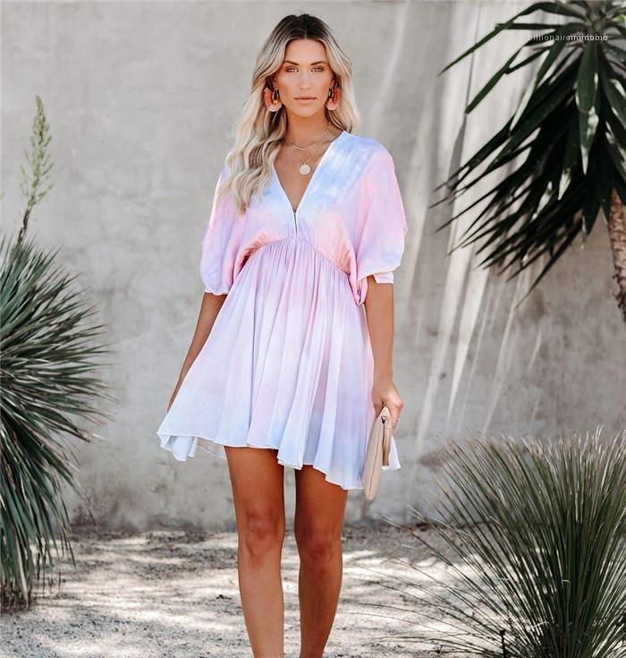Tiefer V-Ausschnitt Sexy Kleid für Frauen-Sommer-Flügel-Hülsen-hoher Taillen Abbindebatik lose Kleider Famale Kleidung