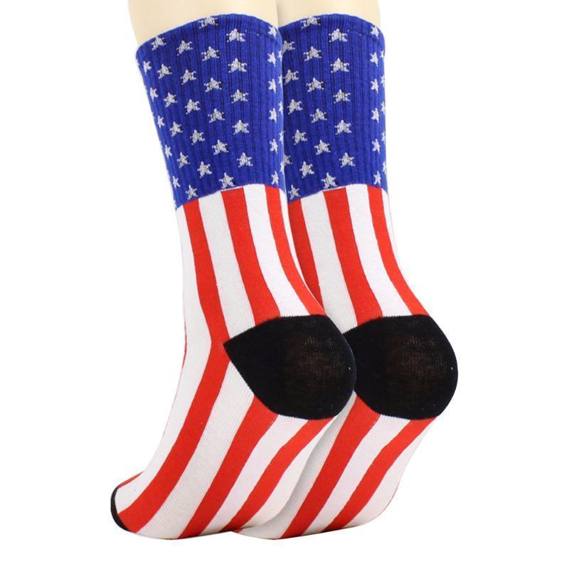 Hombres Mujeres Medias regalo Anti Slip Sport calcetines diariamente Bandera Impreso de alta Un tamaño lavable ciclo de compresión de rayas transpirable