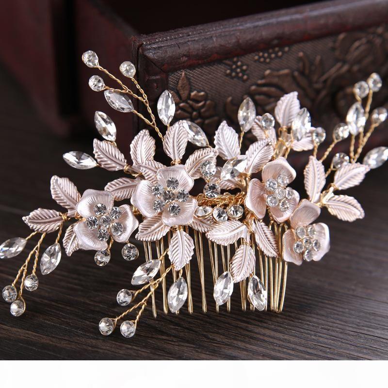 Gelin Rhinestone Rose Gold Gümüş Çiçek Saç Combs Düğün Yarışması nedime Gelin başlıkiçi Saç Takı Aksesuar S918