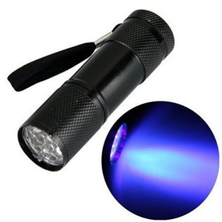 9LED الأشعة فوق البنفسجية ضوء مضيا 400nm uv led الشعلة الألومنيوم مصباح يدوي بطارية الشعلة uv مصباح المصباح المصباح